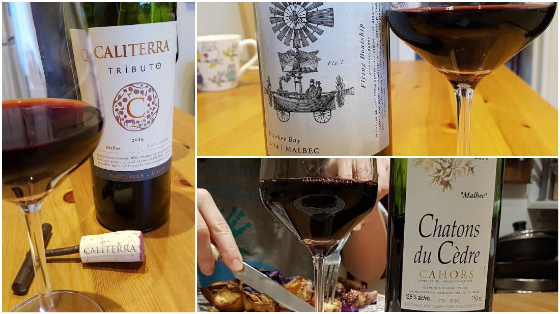 Malbec from Colchagua Valley, Chile, Hawkes bay, New Zealand and Cahors, France